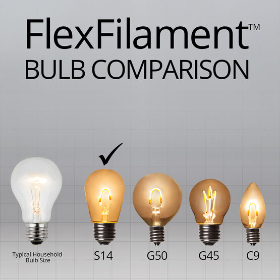 S14 FlexFilament TM Vintage LED Light Bulb, Multicolor Transparent Glass