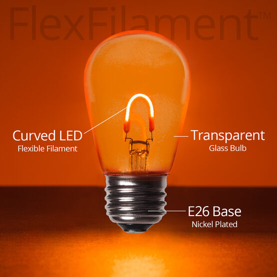 S14 Vintage LED Light Bulb, Amber / Orange Transparent Glass