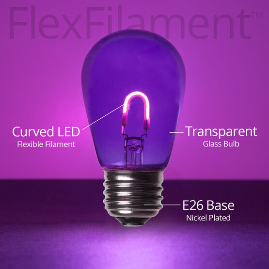 S14 FlexFilament TM Vintage LED Light Bulb, Purple Transparent Glass