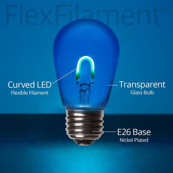 S14 Vintage LED Light Bulb, Blue Transparent Glass