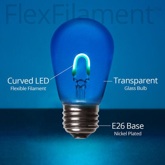 S14 FlexFilament TM Vintage LED Light Bulb, Blue Transparent Glass