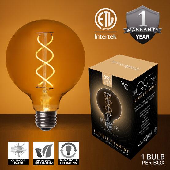 35' Cafe String Light Set, 7 Warm White G95 FlexFilament TM Antiqued Glass LED Edison Bulbs, Black Wire, Copper Shades