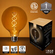 Cafe String Light Set, Warm White G125 FlexFilament TM Antiqued Glass LED Edison Bulbs, Black Wire, Copper Shades