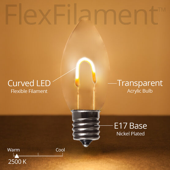 C9 FlexFilament TM Vintage LED Light Bulb, Warm White Transparent Acrylic
