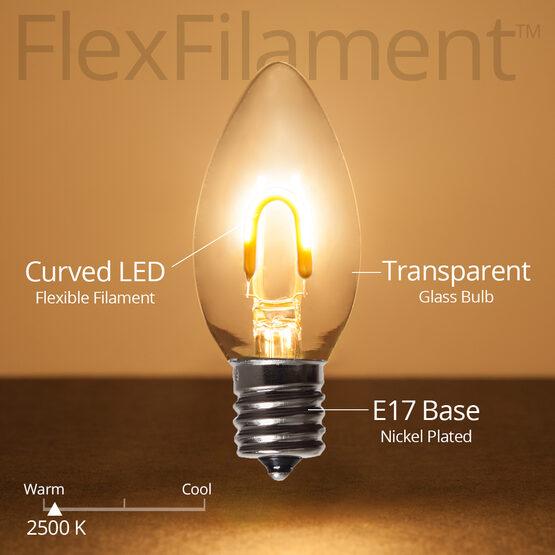 C9 FlexFilament TM Vintage LED Light Bulb, Warm White Transparent Glass