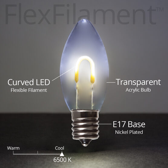 C9 FlexFilament TM Vintage LED Light Bulb, Cool White Transparent Acrylic