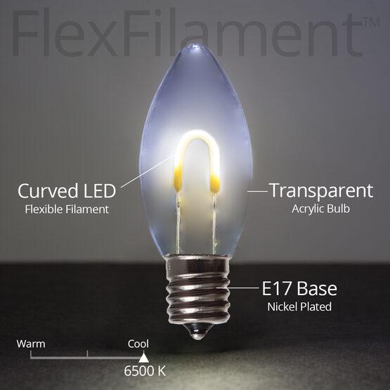 C9 FlexFilament TM Vintage LED Light Bulb, Cool White Transparent Acrylic
