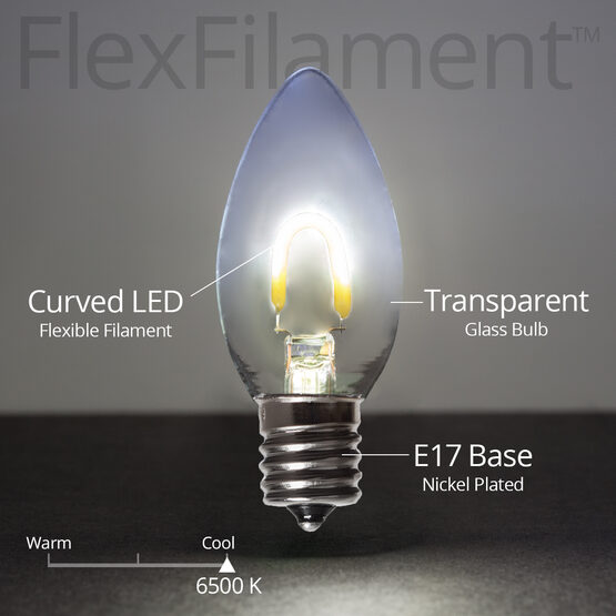 C9 Vintage LED Light Bulb, Cool White Transparent Glass