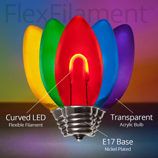 C9 FlexFilament TM Vintage LED Light Bulb, Multicolor Transparent Acrylic