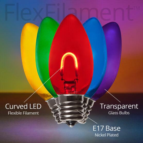 C9 FlexFilament TM Vintage LED Light Bulbs, Multicolor, Transparent Glass