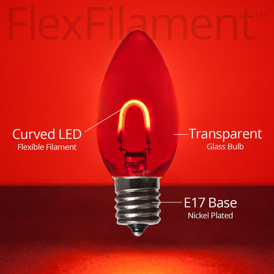 C9 FlexFilament TM Vintage LED Light Bulb, Red Transparent Glass