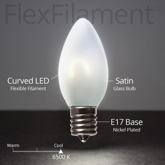C9 FlexFilament TM Vintage LED Light Bulb, Cool White Satin Glass