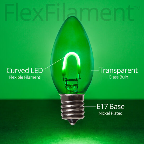 C9 Vintage LED Light Bulb, Green Transparent Glass