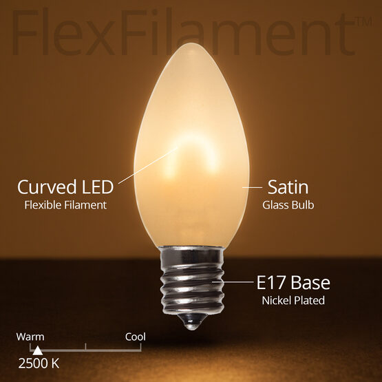 C9 FlexFilament TM Vintage LED Light Bulb, Warm White Satin Glass