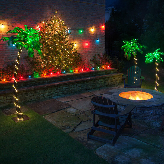 5' Curved LED Lighted Palm Tree with Green Canopy