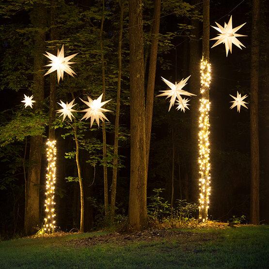 White Moravian Star Lantern, Fold-Flat, LED Lights