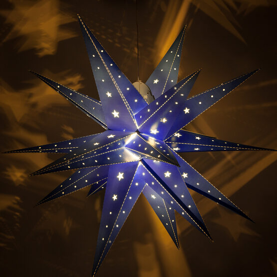 Blue Aurora Superstar TM Moravian Star Lantern, Fold-Flat, LED Lights