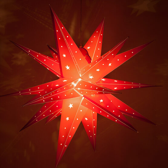 Red Aurora Superstar TM Moravian Star Lantern, Fold-Flat, LED Lights