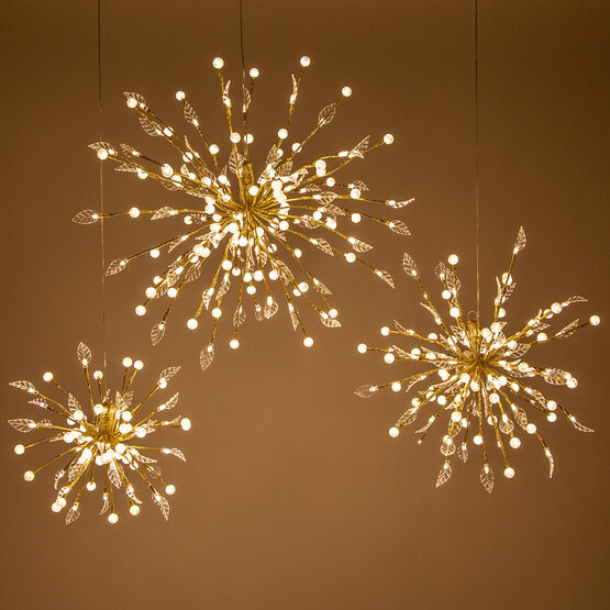 Gold Starburst LED Lighted Branches, Warm White Lights, 1 pc
