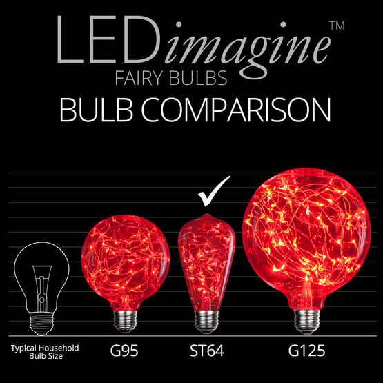 ST64 LEDimagine TM Fairy Light Bulb, Red