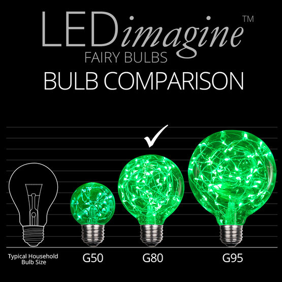 G80 LEDimagine TM Fairy Globe Light Bulb, Green