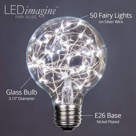 G80 LEDimagine TM Fairy Globe Light Bulb, Cool White