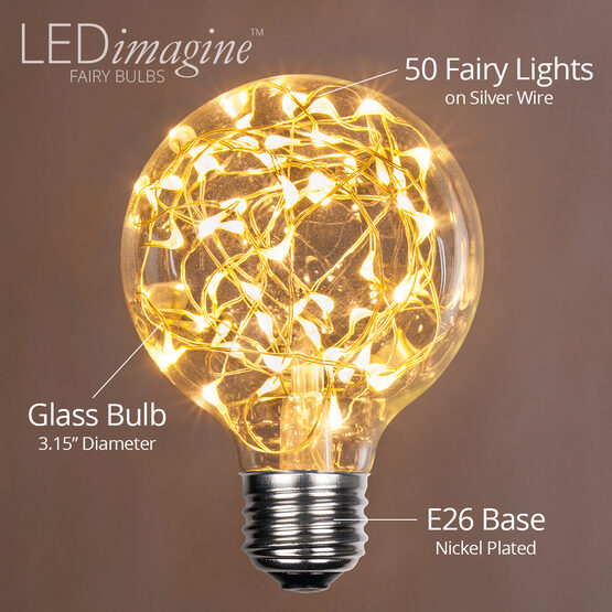 G80 LEDimagine TM Fairy Globe Light Bulb, Warm White