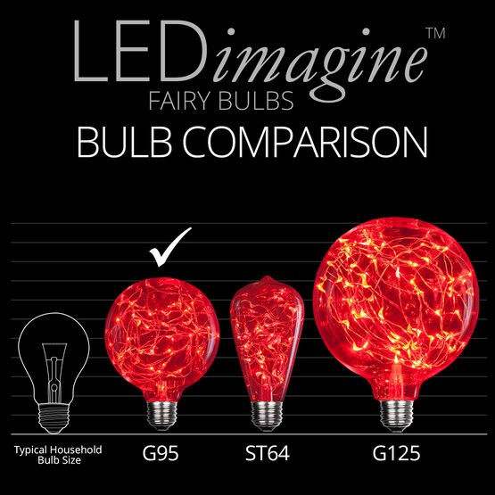 G95 LEDimagine TM Fairy Globe Light Bulb, Red