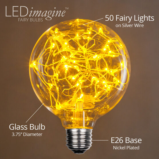 G95 LEDimagine TM Fairy Globe Light Bulb, Gold