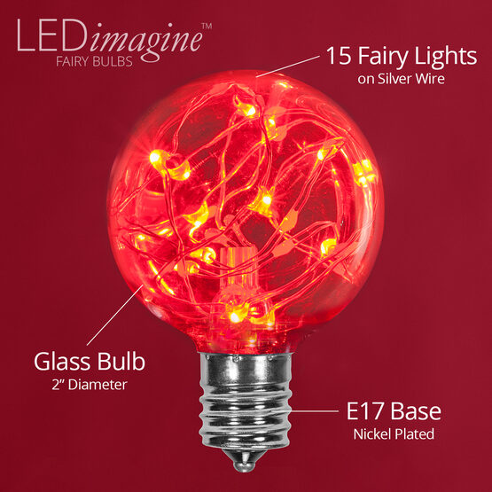 G50 LEDimagine TM Fairy Globe Light Bulb, Red, E17 Base