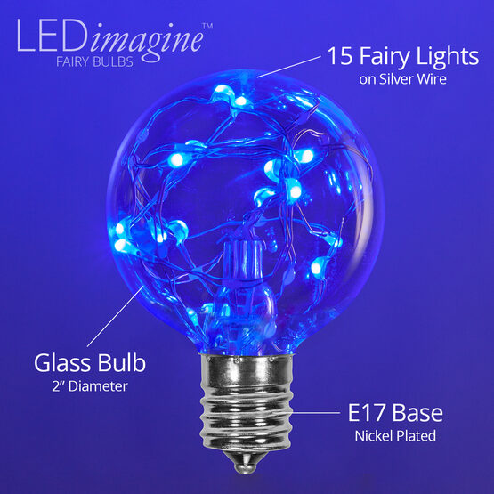G50 LEDimagine TM Fairy Globe Light Bulb, Blue, E17 Base