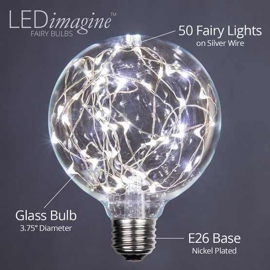 G95 LEDimagine TM Fairy Globe Light Bulb, Cool White