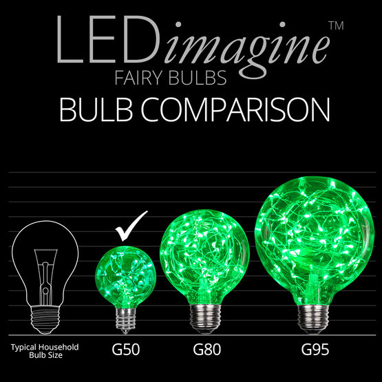 G50 LEDimagine TM Fairy Globe Light Bulb, Green, E17 Base