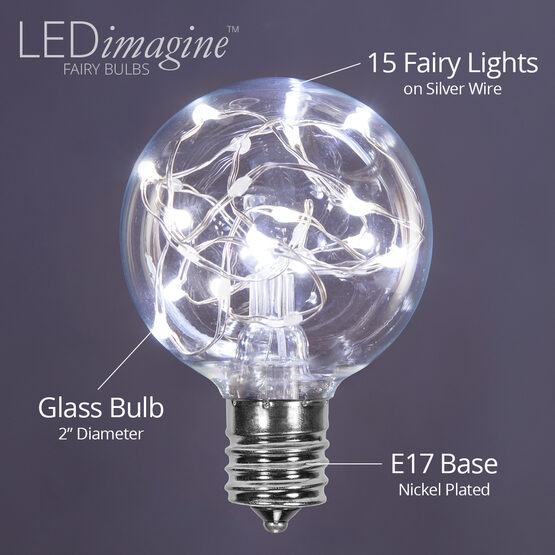 G50 LEDimagine TM Fairy Globe Light Bulb, Cool White, E17 Base