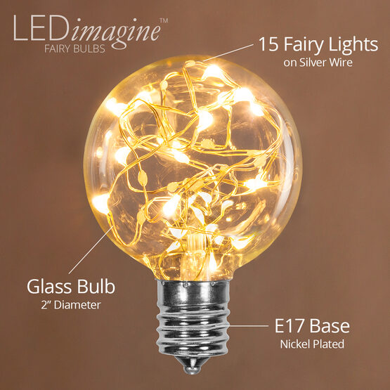 G50 LEDimagine TM Fairy Globe Light Bulb, Warm White, E17 Base