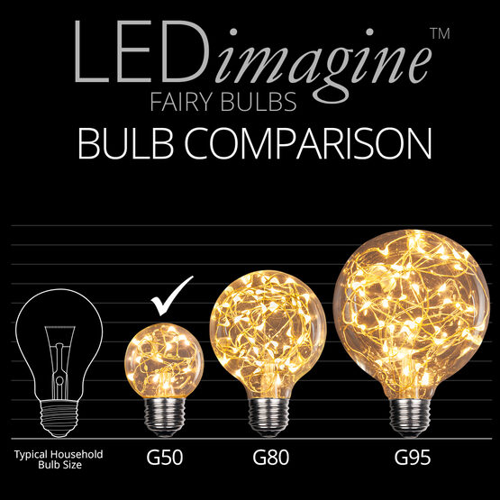 G50 LEDimagine TM Fairy Globe Light Bulb, Warm White, E26 Base