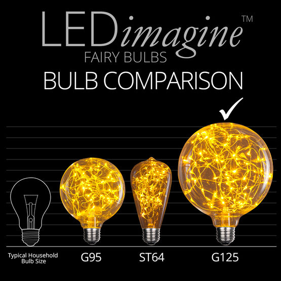 G125 LEDimagine TM Fairy Globe Light Bulb, Gold
