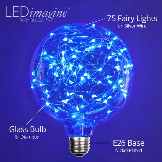 G125 LEDimagine TM Fairy Globe Light Bulb, Blue