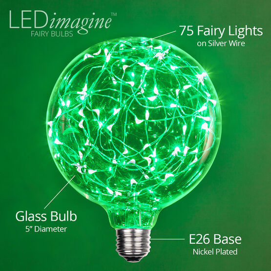 G125 LEDimagine TM Fairy Globe Light Bulb, Green