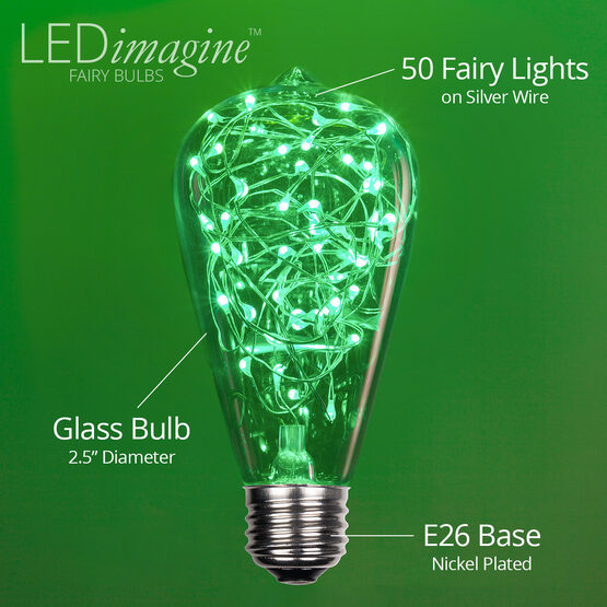 ST64 LEDimagine TM Fairy Light Bulb, Green