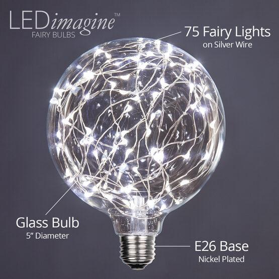 G125 LEDimagine TM Fairy Globe Light Bulb, Cool White