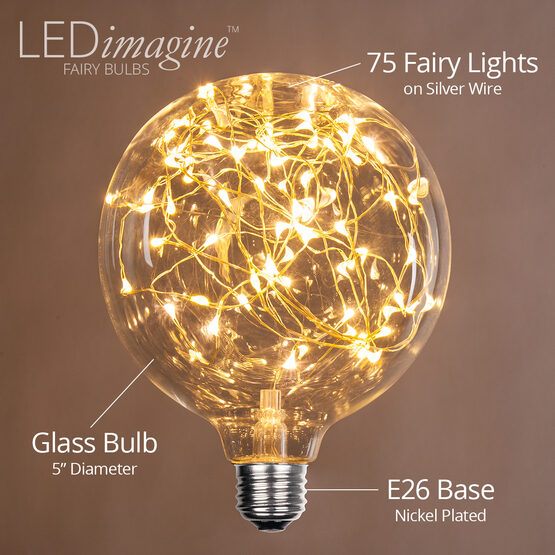 G125 LEDimagine TM Fairy Globe Light Bulb, Warm White