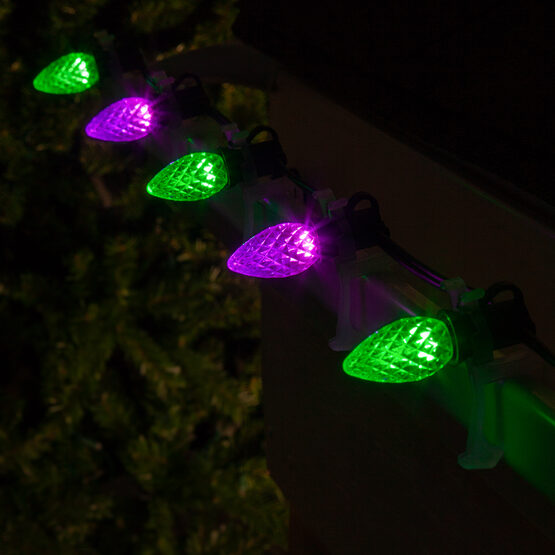 Opticore C7 Commercial LED String Lights, Purple/Green