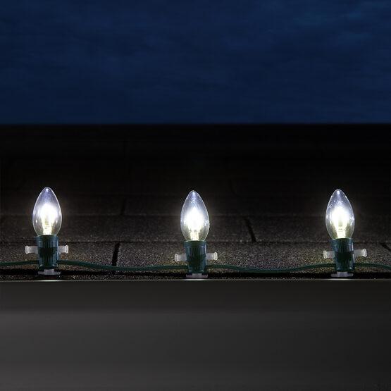C9 FlexFilament TM Vintage LED Light Bulb, Cool White Transparent Glass
