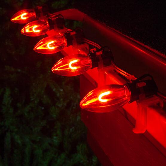 C9 FlexFilament TM Vintage LED Light Bulb, Red Transparent Acrylic