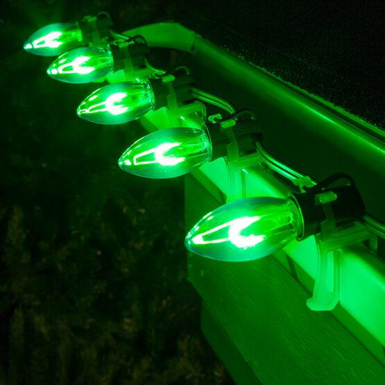 C9 Vintage LED Light Bulb, Green Transparent Acrylic