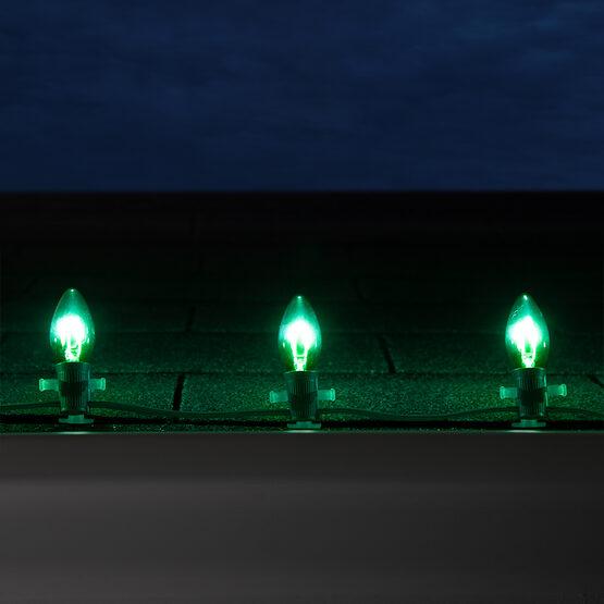 C9 FlexFilament TM Vintage LED Light Bulb, Green Transparent Glass