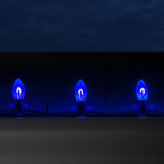 C9 FlexFilament TM Vintage LED Light Bulb, Blue Transparent Acrylic