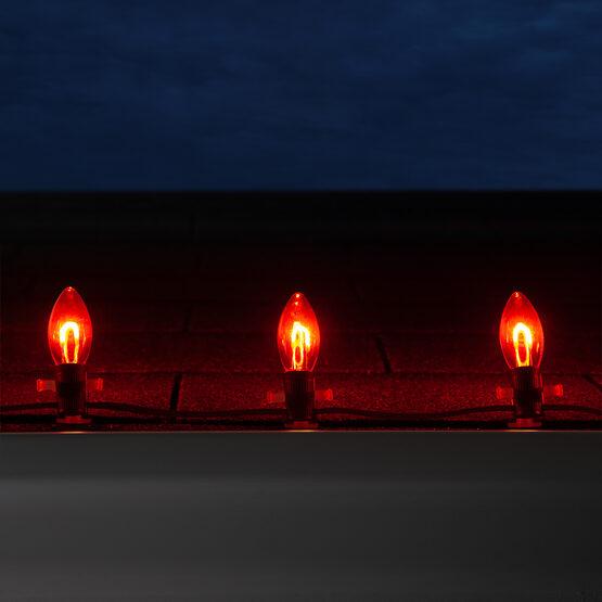 C9 Vintage LED String Lights, Red Transparent Acrylic