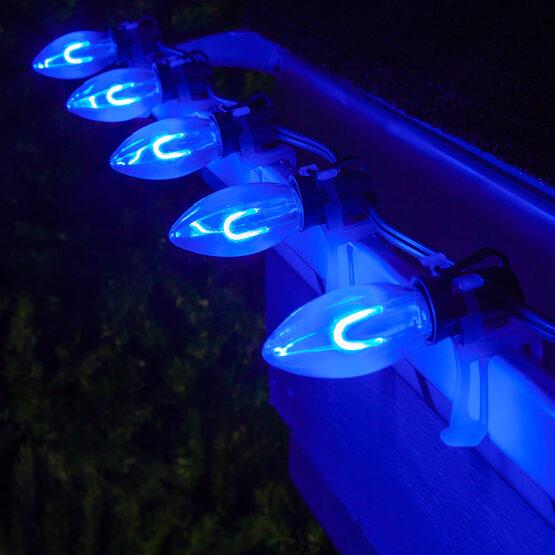 FlexFilament C9 Commercial Shatterproof Vintage LED String Lights, Blue, 25 Lights, 25'